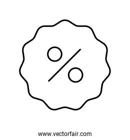 Percentage inside seal stamp line style icon vector design