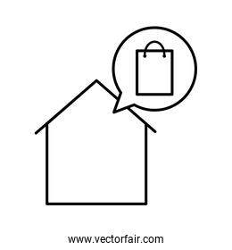 House with bag line style icon vector design