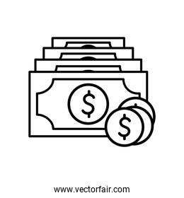 Coins and bills line style icon vector design