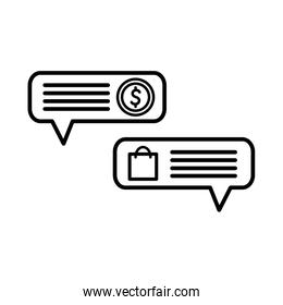shopping bag and coin inside bubbles line style icon vector design