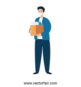businessman wearing surgical mask, and box with objects