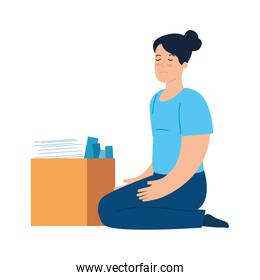 sad and depressed woman, unhappy and stressed and box with objects