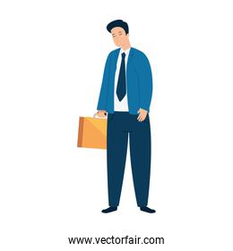 young businessman sad , wearing working outfit