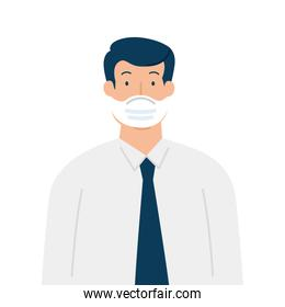 businessman wearing surgical mask, health care and prevention concept