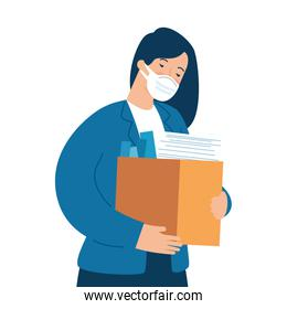 woman unemployment concept, company worker holding stuff in box, from coronavirus crisis covid 19