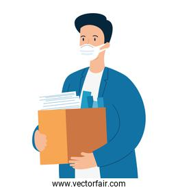 man unemployment, company worker holding stuff in box, from coronavirus crisis covid 19