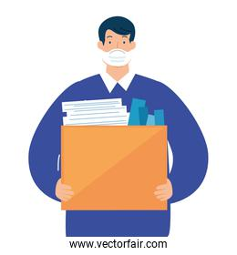 man unemployment concept, company worker holding stuff in box, from coronavirus crisis covid 19