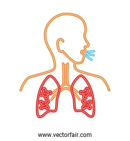 lungs disease coronavirus, infection of lungs particles in the human, line style