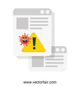 carton coronavirus emoji, red cell with face, document with signal alert