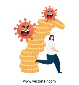 carton coronavirus emoji, red cell with face, woman running and stack coins, money cash, crisis situation