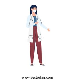 female doctor using medical protective mask against covid 19 on white background