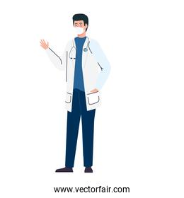 masculine doctor using medical protective mask against covid 19 on white background