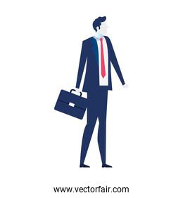 young businessman, wearing working outfit with briefcase