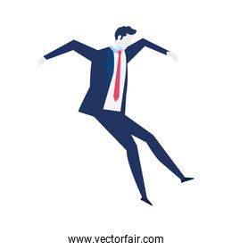young businessman falling, wearing working outfit