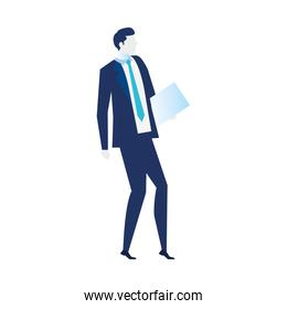 young businessman, wearing working outfit with paper document