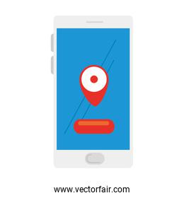 mobile phone, smartphone device on white background with app location