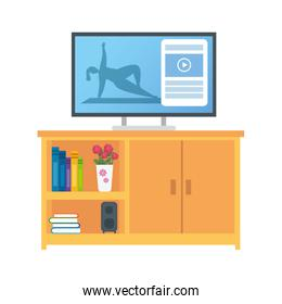woman stretching movements to flex stiff muscles and refresh the mind online