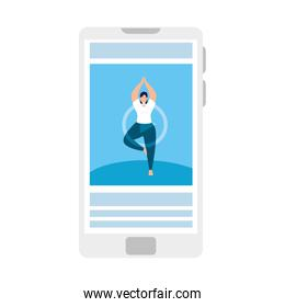 smartphone device with application yoga online, healthy lifestyle