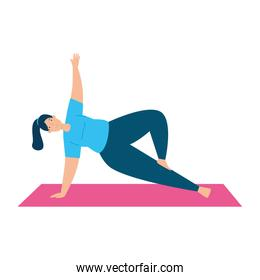 woman stretching movements to flex stiff muscles and refresh the mind