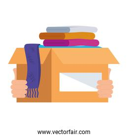 cardboard donation box clothes, social care, volunteering and charity concept