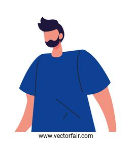 young man faceless with beard on white background