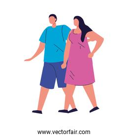 couple in love faceless, adorable couple, woman and man happy on white background