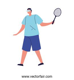 man playing tennis sport on white background