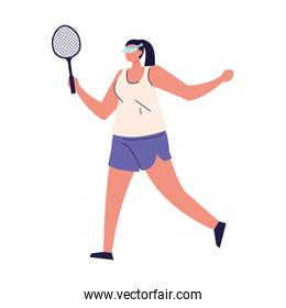 woman playing tennis sport on white background