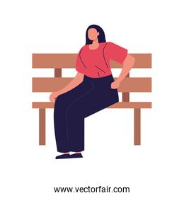 young woman faceless sitting in chair park on white background
