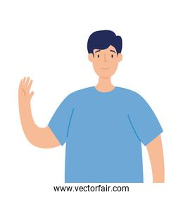 young man waving on white background