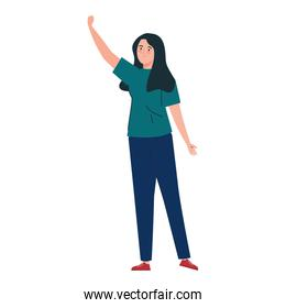 young waving woman on white background