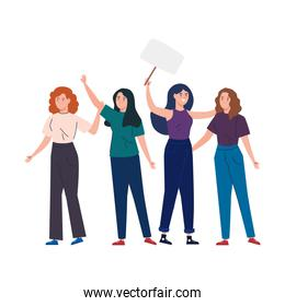 happy women together , group of female friends, sisterhood on white background