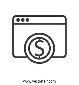 isolated webpage with coin dollar line style icon
