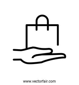 hand with shopping bag line style icon