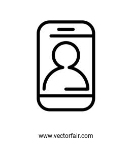 smartphone with user profile line style icon