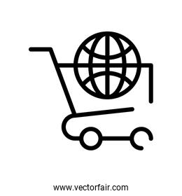 shopping cart with sphere browser line style
