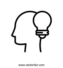 profile with bulb line style icon