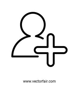 user with pluss symbol line style icon