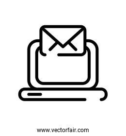 laptop with envelope line style icon