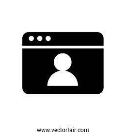 webpage with profile silhouette style icon