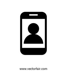 smartphone with user profile silhouette style icon