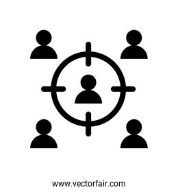 teamwork people with target silhouette style icon