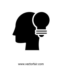 profile with bulb silhouette style icon