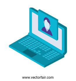 laptop with picture isometric icon