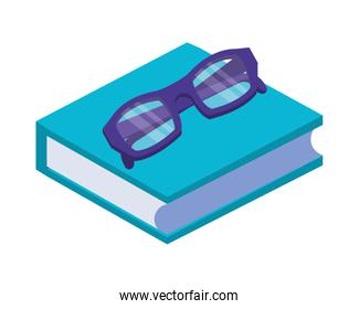 text book library with eyeglasses isometric