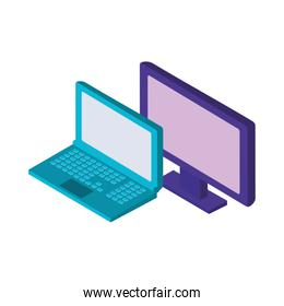 laptop and desktop computers isometric icons