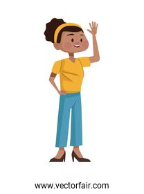 afro young woman avatar character icon