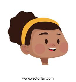 afro young woman head avatar character