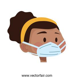 afro young woman head using medical mask