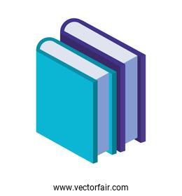 text books library isometric icons